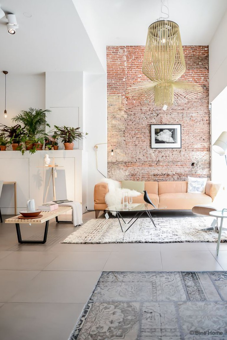 Blinihome- pink-rose-brick wall-statement lighting-concrete tile floors