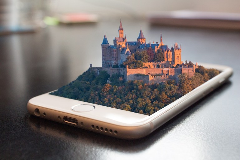 iPhone with castle 3d image