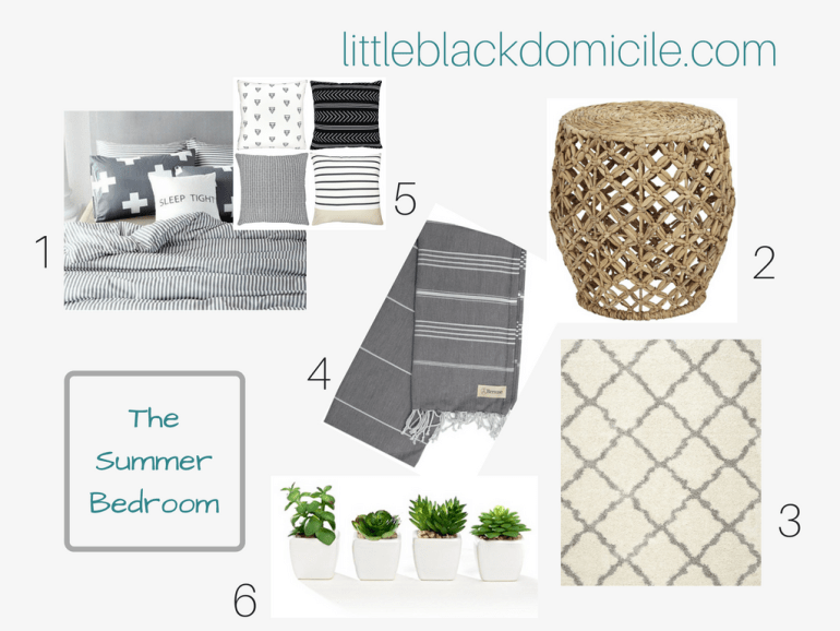 little-black-domicile-summer-bedroom-area rugs-linens-turkish towels-pillows