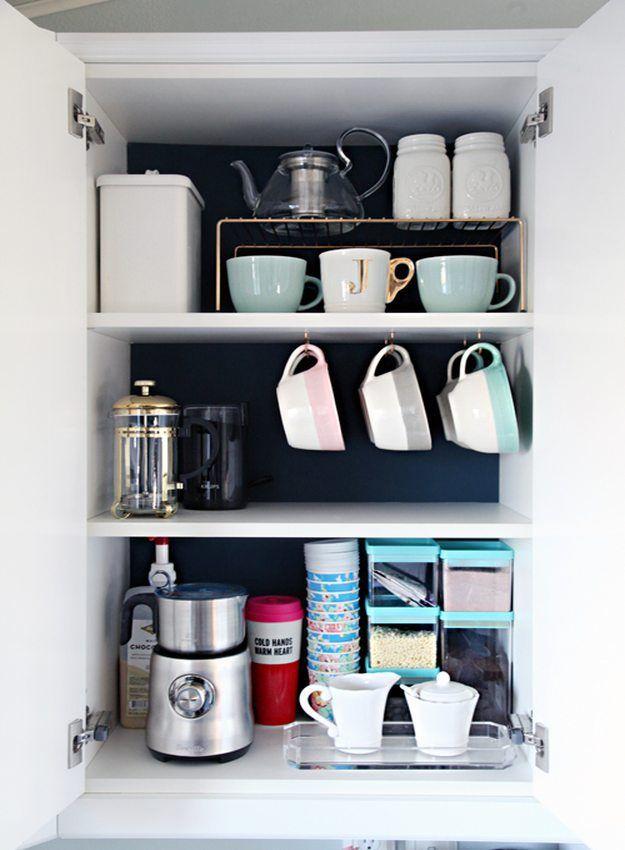 organized - coffee- mug-storage-cabinet-decluttered
