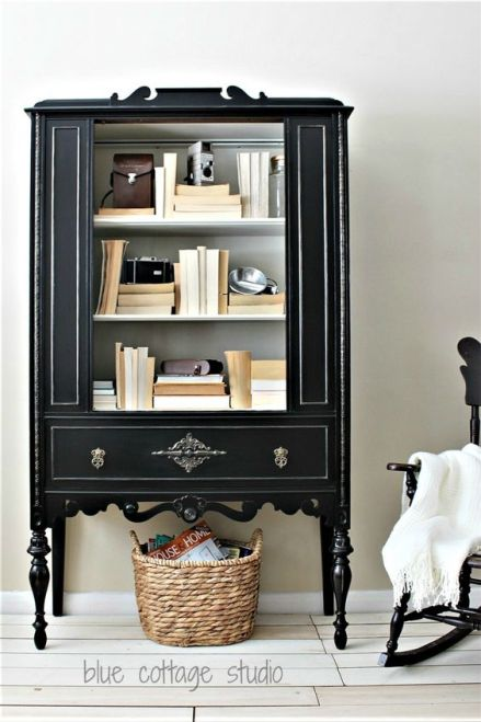 blue cottage black painted old walnut china cabinet with white interior