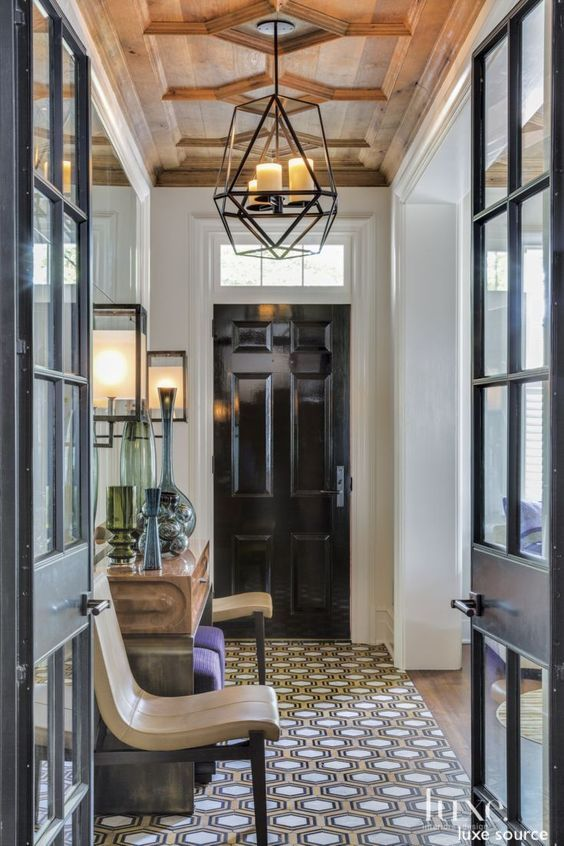luxe source-entry-wood-celing-lantren-wall sconces-foyer-patterned- tile