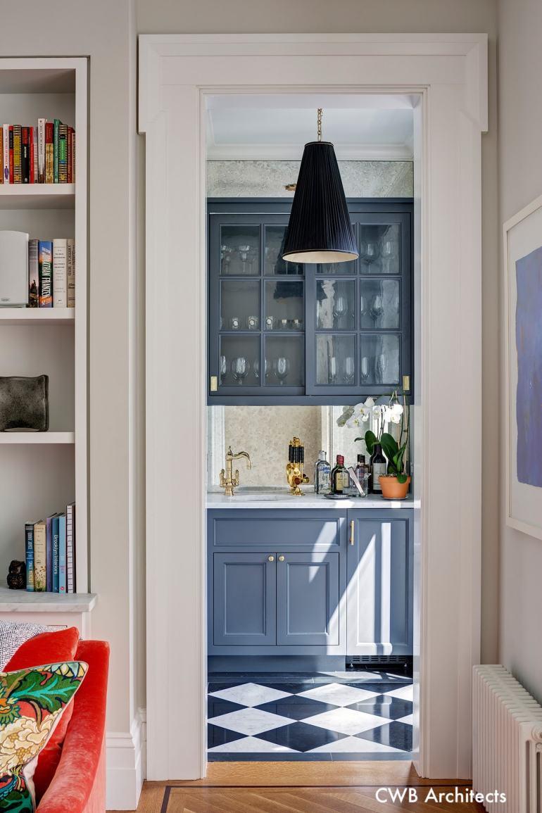 CWBArchitects-Wet-Bar- Gray-Cabinets-BlackandWhite-Flooring