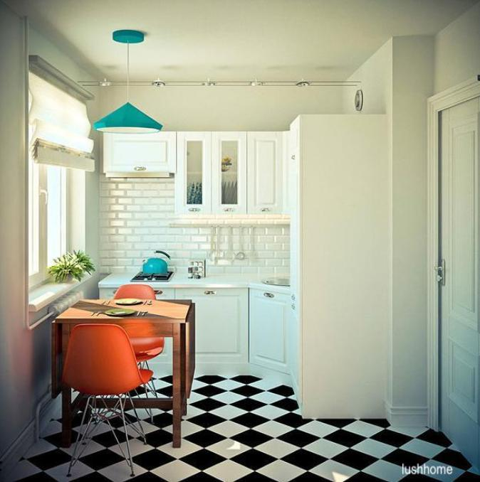 lushhome-kicthen-checkered-floor-orange-chairs