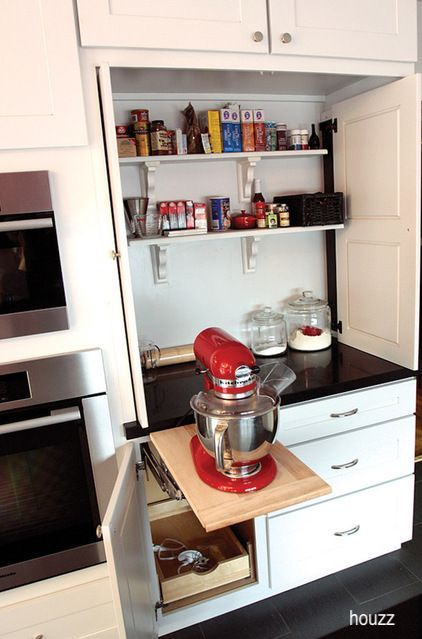 houzz-bakers-cabinet-kitchenaid-red-mixer
