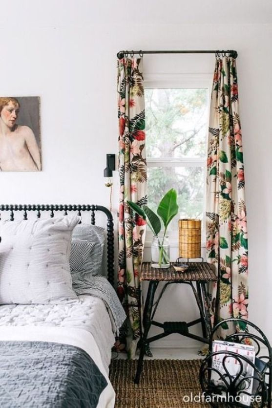 old farmhouse-white-wall-bedroom-vintage-drapes-spindle-bed