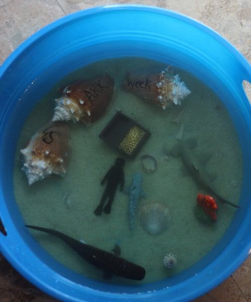 shark week sensory bin