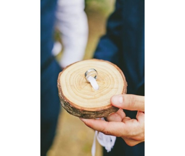 """unique ring """"pillow"""". You can get tree slabs already cut in"""