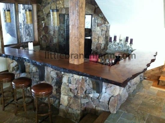 Custom bar with live edge bar top