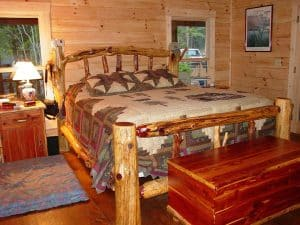 rustic cedar log bed