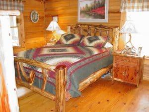 rustic custom log bed