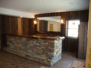 """""""Handcrafted rustic black walnut and large slab redwood burl counter bar by Kelly Maxwell"""""""
