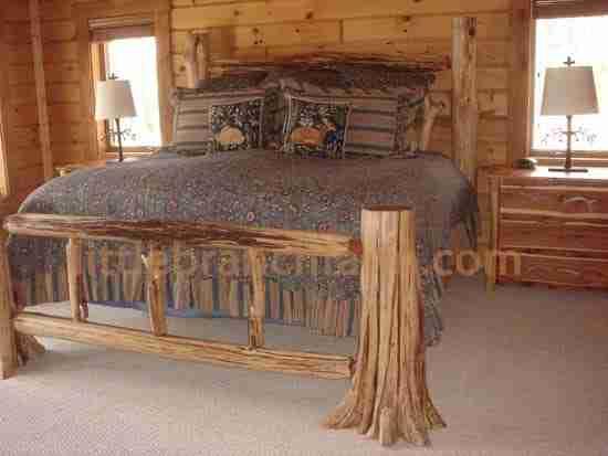 rustic log bed