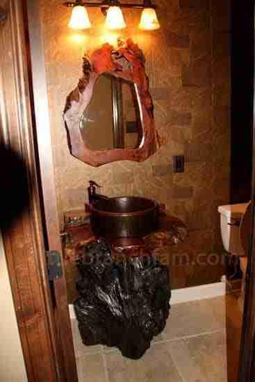 rustic vanity with burl wood mirror