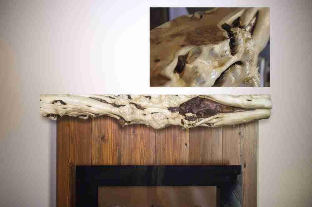 Rustic Burl Juniper Fireplace Mantel | Littlebranch Farm
