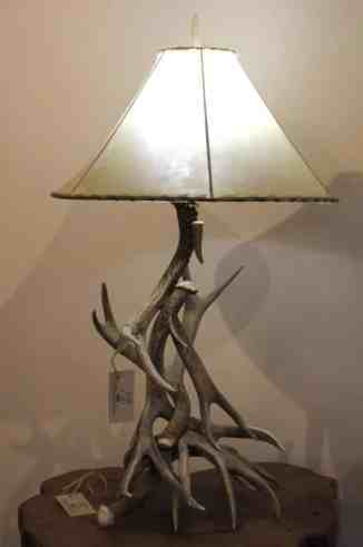 Mule deer antler table lamp with leather shade