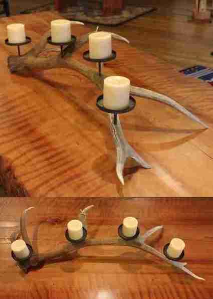 Rustic Elk Antler Candle Holder