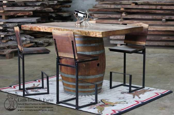 Wine barrel bar / pub table with redwood table top