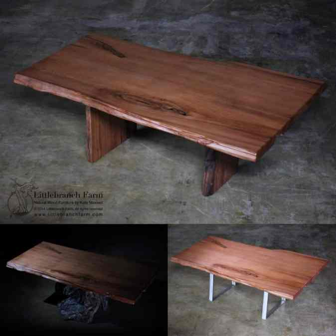 Live edge redwood table made from reclaimed wood