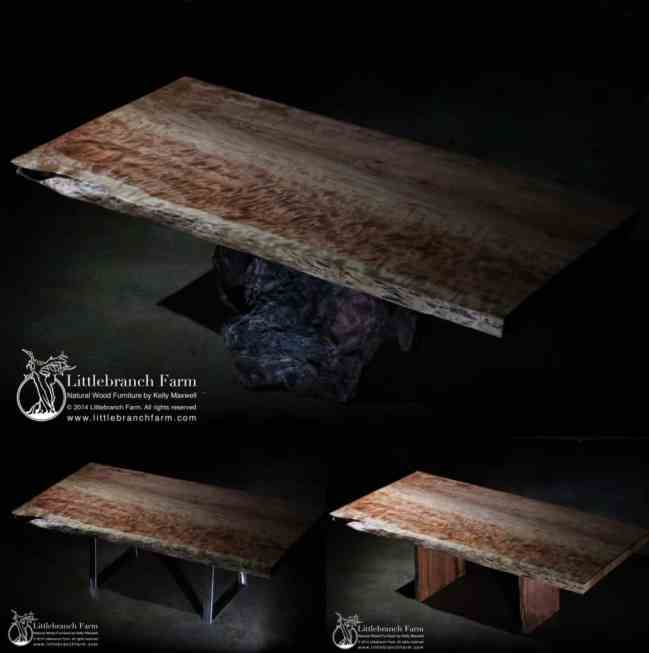 Live Edge Young Growth Redwood Dining Table | Littlebranch