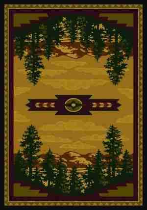 Mountain scene area rug