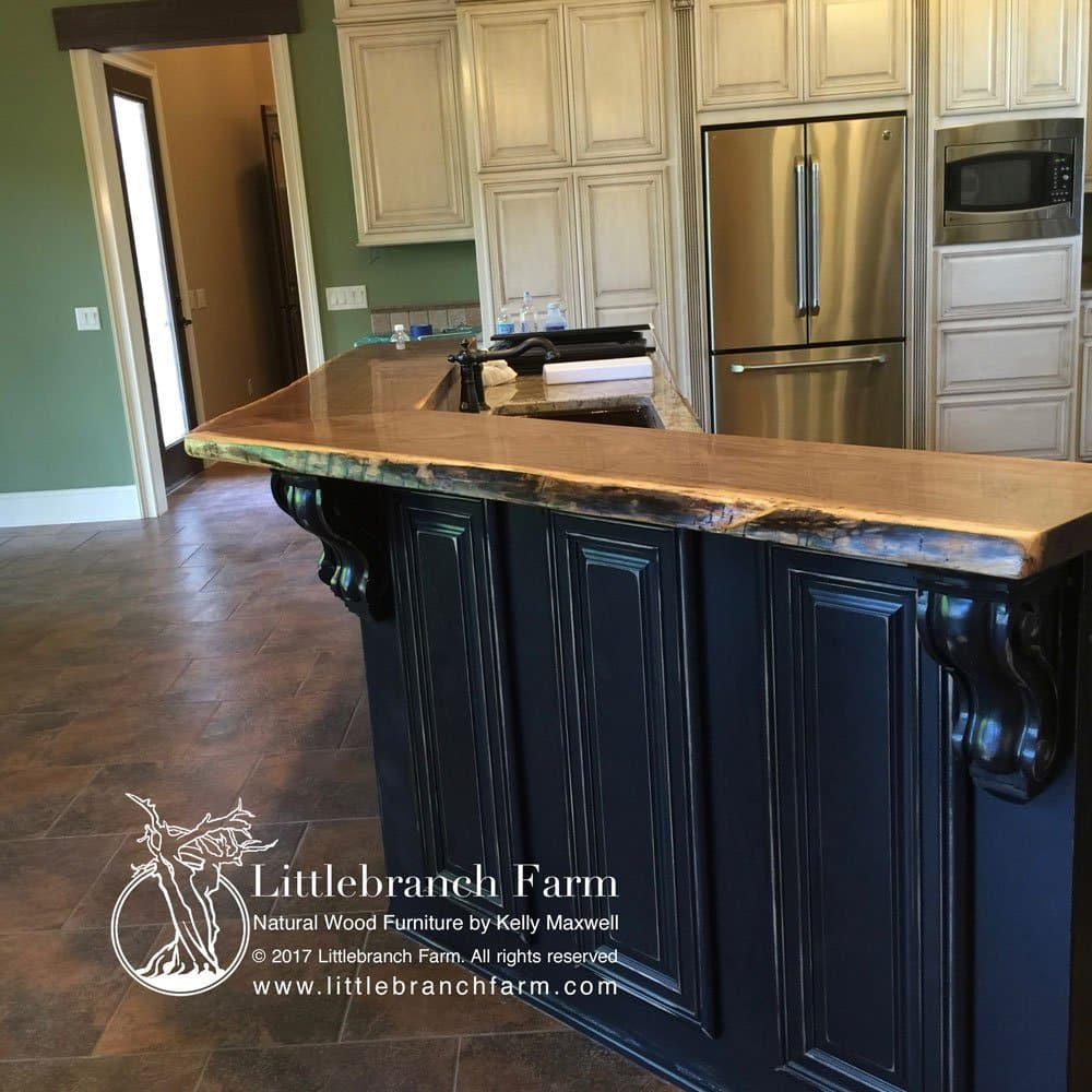 Wood slab countertop