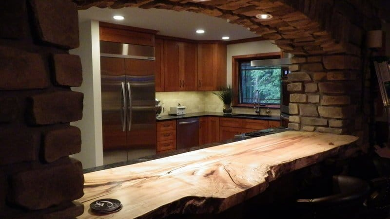 Maple wood countertop in a rustic kitchen decor