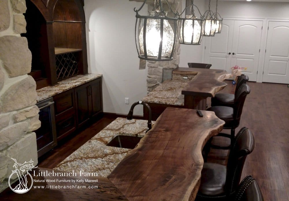 Wood countertops in custom home bar.