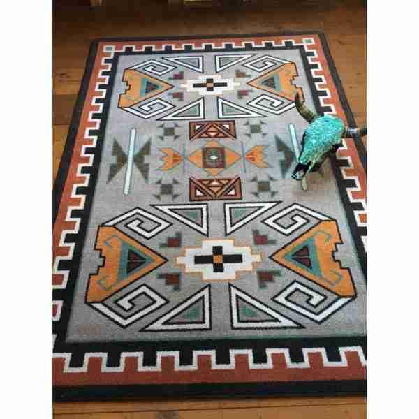 Southwest gray rug with skull