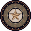 Gold Texas star round area rug.