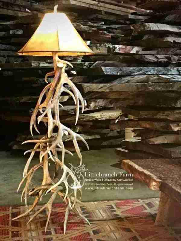 Elk and mule deer antler floor lamp