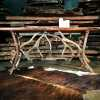 antler wood slab console table