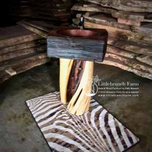 twisted wood log vanity