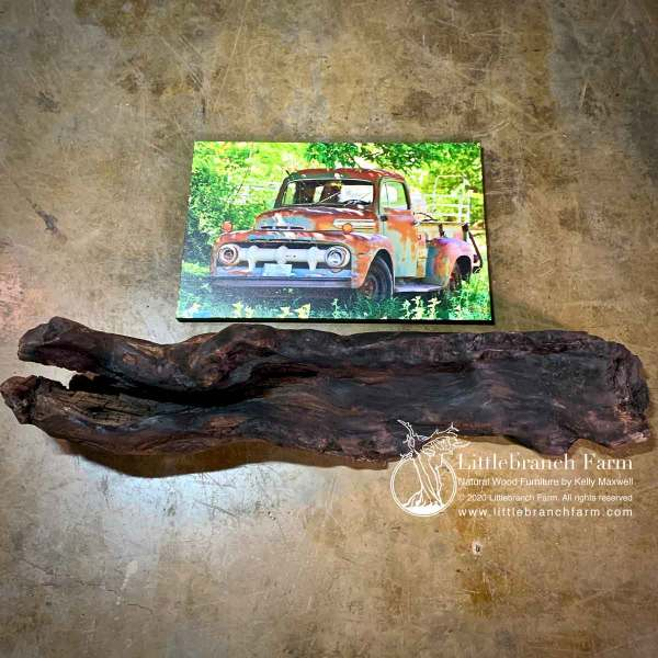 Redwood driftwood fireplace mantel