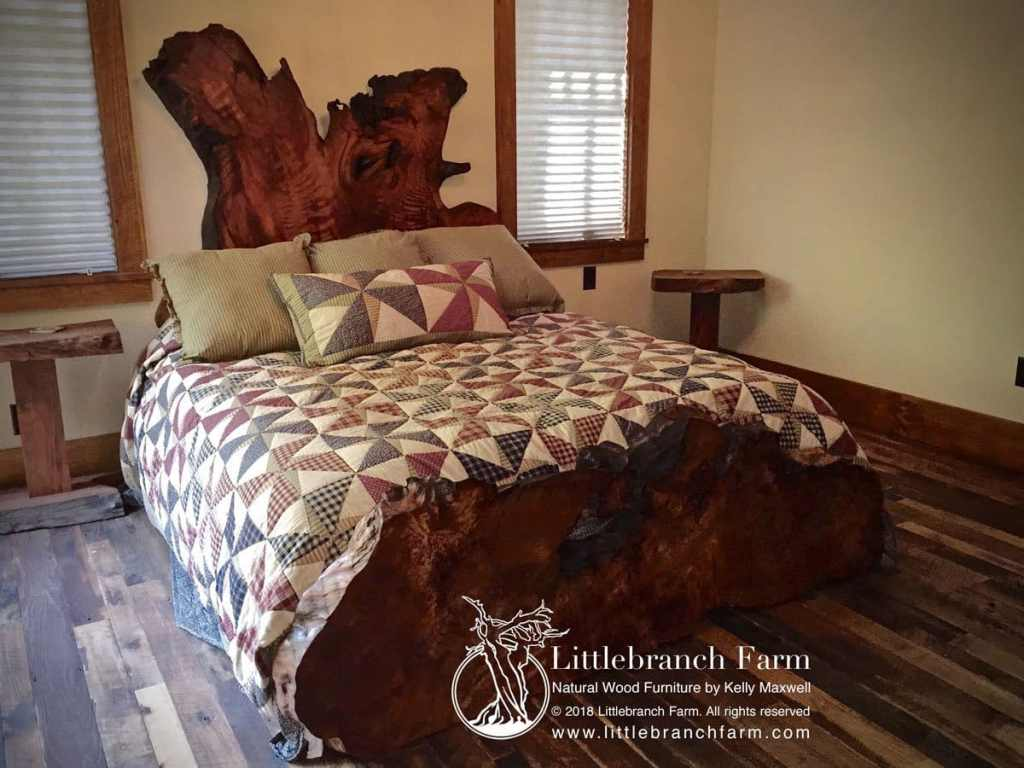 Rustic wood bed
