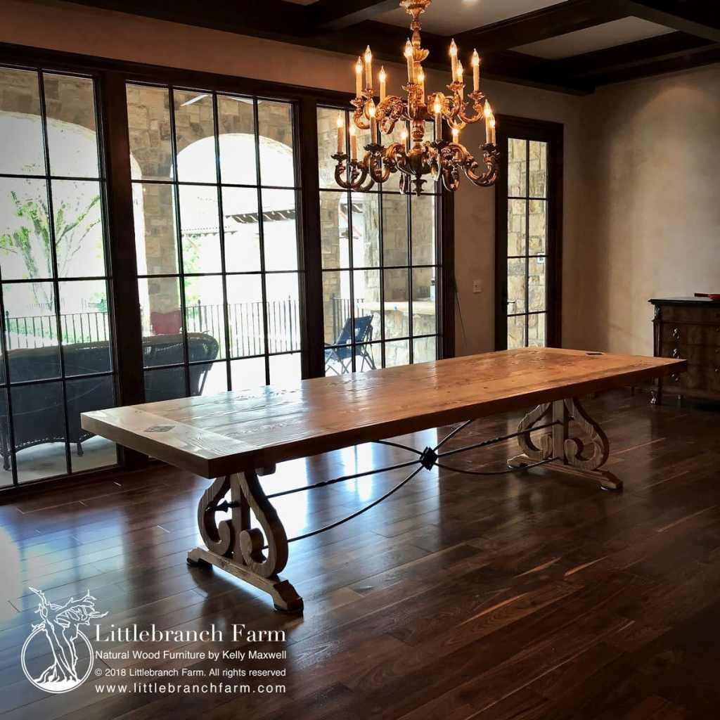 Timeless wood slab table in dining room.