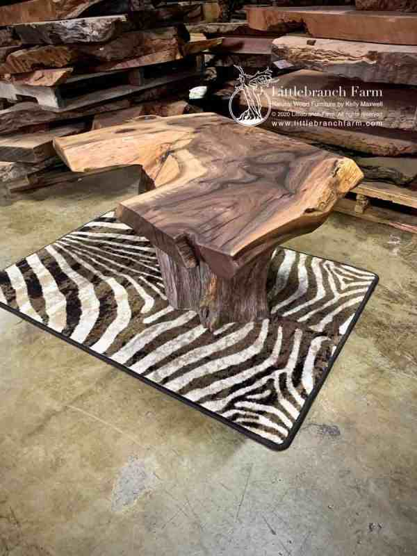 Senegal rug with live edge coffee table