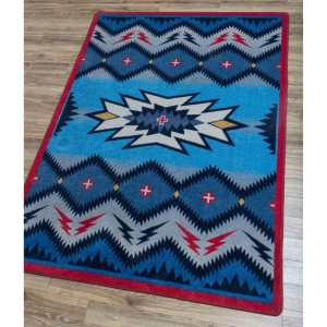Red and blue southwest rug