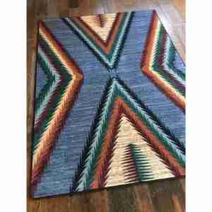 X gray blue rug