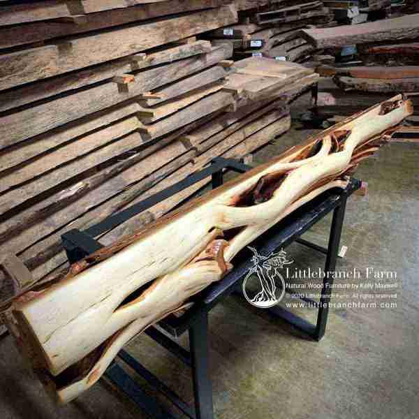 Juniper rustic log fireplace mantel
