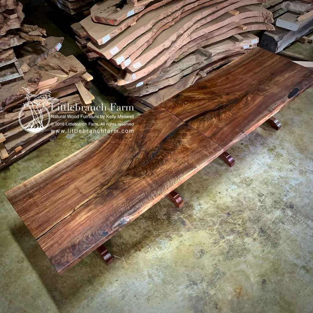 """13' wood slab table built in two 6'5"""" tables"""