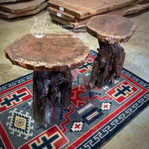 Live edge tables on southwest rug