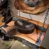 Live edge wood and copper farm sink