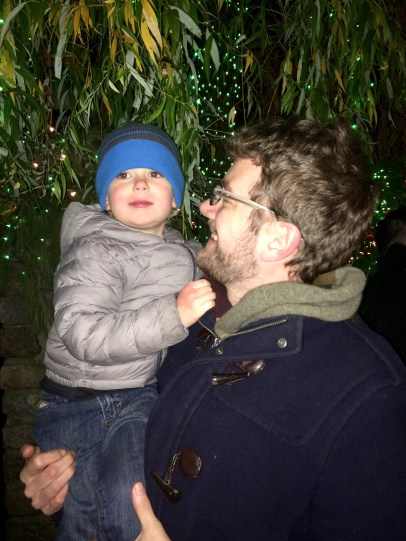 Under a weeping willow full of Christmas lights. It was magical.