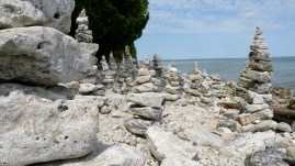 Rock formations built on a beach at Lake Michigan.