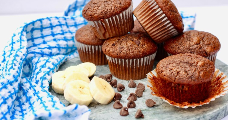 Double Chocolate Chip Banana Muffins