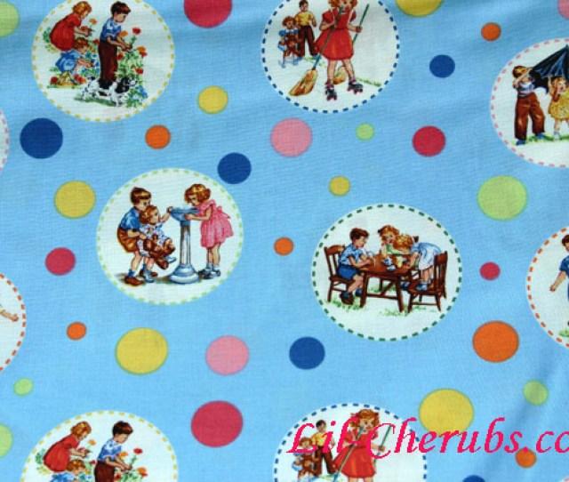 Michael Miller Retro Dick And Jane Circle Sally Blue Fabric