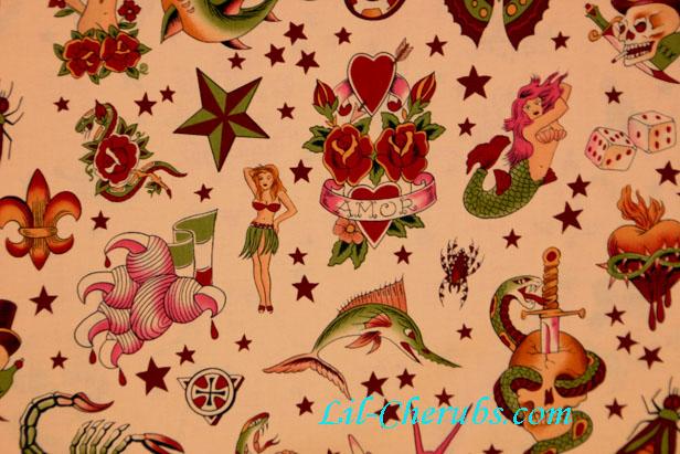 Mermaid Skull Sword Tattoo Pink Fabric larger image
