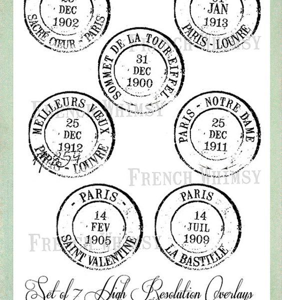 French Postmarks by French Whimsy on Etsy