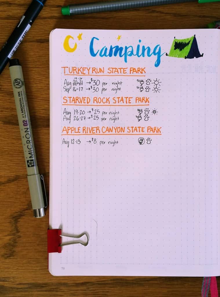 Camping can be fun, but it can also be stressful! Preparing for your trip can make all the difference in the world. See how my bullet journal camping plan makes it easier to get ready for your amazing weekend!